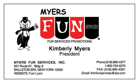 Myers Fun Services business card